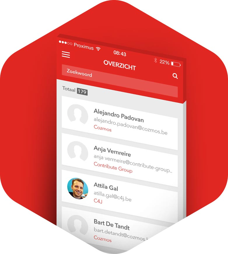 Contribute Contacts app - Overview screen
