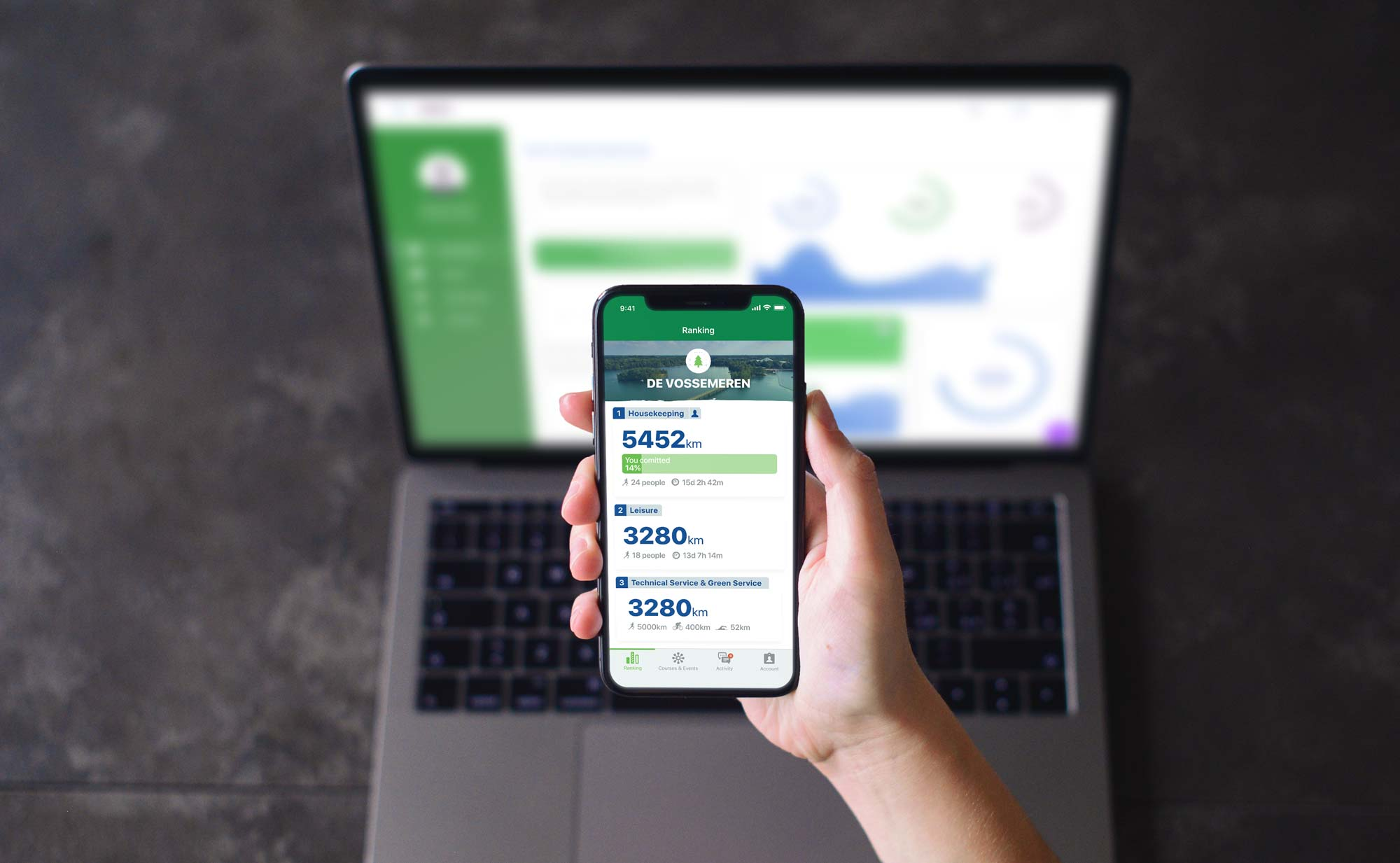 Centerparcs Fit@Work mobile app on iPhone X and desktop backoffice application