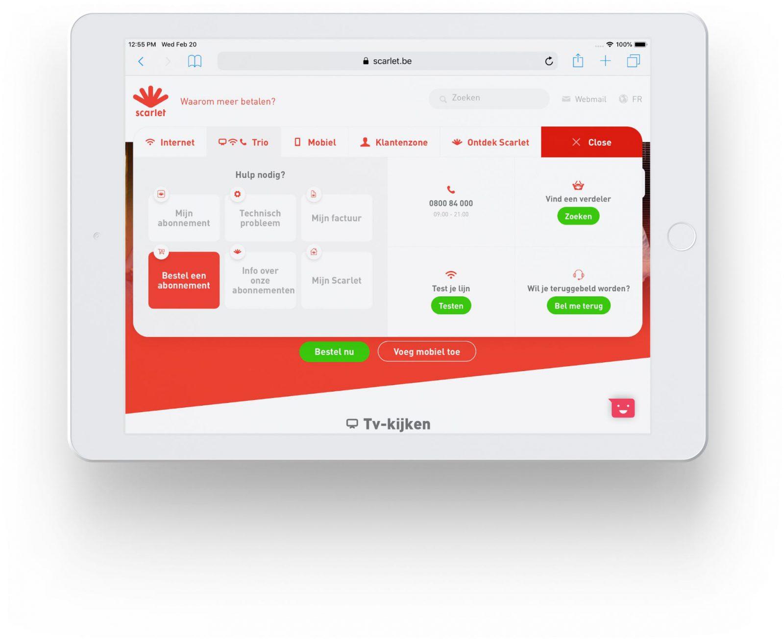 Scarlet FAQ module on tablet resolution